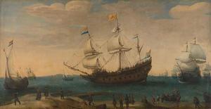 Het uitzeilen van een aantal Oost-Indiëvaarders uit het Marsdiep; in het midden de driemaster de 'Mauritius'