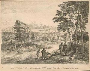 Boomrijk rivierlandschap met vee en rustende ruiters en wandelaars