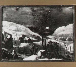 Winterlandschap met twee zittende jagers