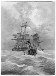 Een Engelse koopvaardijbark gesleept door een radarsleepboot