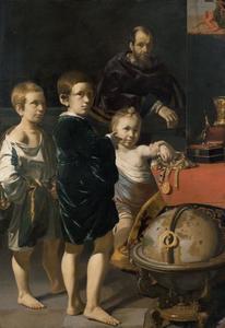 Portret van drie onbekende kinderen en een man