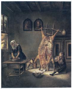 Interieur met een opgespalkt varken
