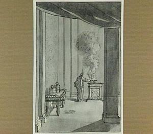 Interieur met figuur bij een altaar
