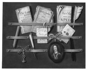 Trompe l'oeil met een portretje van Karel I van Engeland