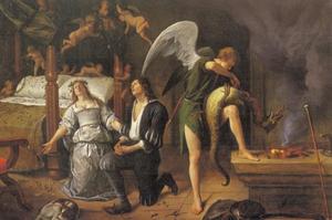 De aartsengel Rafael boeit de boze geest Asmodeus tijdens de huwelijksnacht van Tobias en Sara)