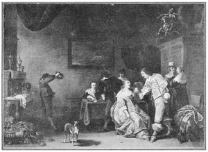Elegant pratend en triktrakspelend gezelschap in een interieur