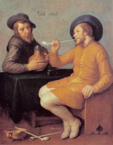 Twee mannen met bierpul en pijp
