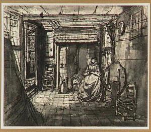 Interieur met zittende vrouw