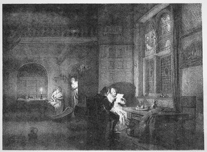 Binnenhuis met figuren bij kaarslicht