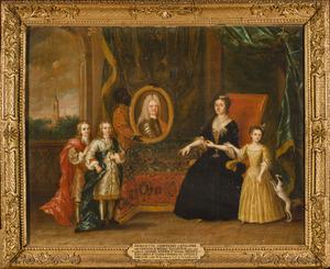 Familieportret van Henriette van Nassau Zuylestein (1688-1759) met haar drie kinderen