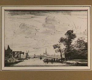 Rivierlandschap met pont nabij Amsterdam