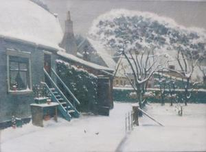 Dorpstuintje in de sneeuw (Katwijk)