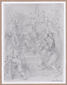 Tronende Maria met kind, aanbeden door heiligen