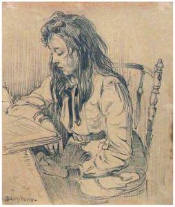 Meisje met lang haar, een boek lezend aan tafel