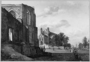 Stadsgezicht met links de ruïne van een gotisch gebouw en op de achtergrond de St- Pantaleon in Keulen