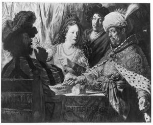 Ester beschuldigt Haman tijdens het gastmaal met Ahasveros (Ester 7:6-7)