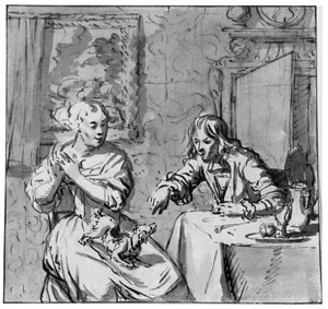 Man en vrouw met hond aan tafel in een  interieur