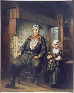 Interieur met man in Volendamse dracht en meisje