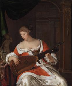 Een jonge luitspelende vrouw in een interieur