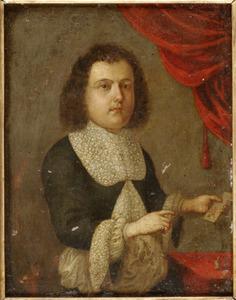 Portret van een jonge man bij een tafel