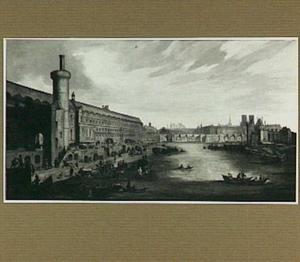 Gezicht in Parijs vanaf de Pont Rouge (ter hoogte van de huidige Pont Royal) met van links naar rechts de houten Tour Charles V, het Louvre, de Pont Neuf, de torens van de Notre Dame, Sainte Chapelle, Saint Louis de Jésuites, Saint Gervais en Saint Jean en Grève
