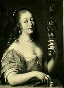 Allegorie op de aardse liefde : jonge vrouw met geld en akeleibeker