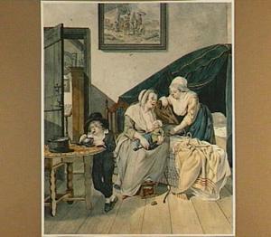 Twee vrouwen en kinderen in een slaapvertrek