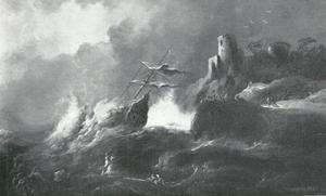 Schipbreuk van een schip op een rotsige kust met ruïne, in vliegende storm