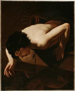 Narcissus bekijkt zijn eigen spiegelbeeld in het water