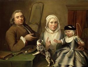 Portret van Albertus de Jonck (1714-1766), Maria Verpoorten (?-?) en Willem de Jonck (?-?)