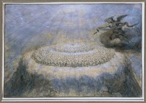 Aanbidding van het Lam door de schare in witte gewaden (Openbaring 7:9)