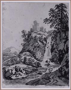 Berglandschap met waterval en ruïne