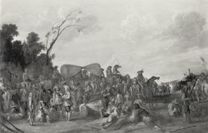 Stoet van wagens en rustende soldaten in een landschap