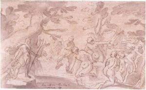Diana en haar nimfen verrast door Actaeon