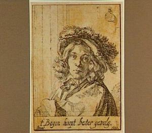 Portret van een jongeman met een hoed met veren