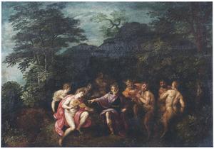 Bosrijk landschap met de wedstrijd tussen Apollo en Pan