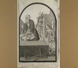 Jozef en het kind Jezus in de timmerwerkplaats