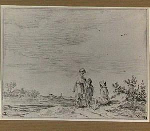 Landschap met twee mannen en een jongen