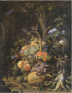 Stilleven met vruchten, vissen en een vogelnest