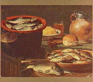 Visstilleven met kruik en bord met boter