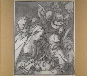 Heilige Familie, met engelen
