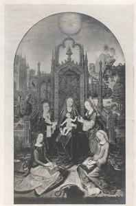 Maria met kind omringd door vier vrouwelijke heiligen (Catharina, Agnes, Barbara en Dorothea?)