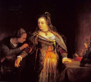 Het toilet van Ester met haar koninklijke gewaden (Ester 5:1 / 15:1-2) Esther puts on her royal robes (Esther 5:1 /15:1-2)