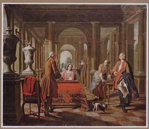 Elegant triktrakspelend paar met bedienden in een zuilenhal