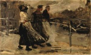 Wind en regen, drie vrouwen op een brug