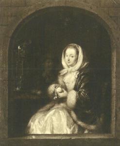 Een jonge vrouw een appel schillend
