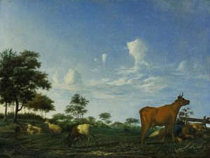 Landschap met een koe, enkele schapen en een slapende herdersjongen
