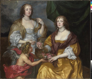 Portret van Elizabeth Rivers, Lady Thimbleby (?-?) en haar zuster Dorothy Rivers, Viscountess Andover, later Countess of Berkshire (1611-1691) met Amor