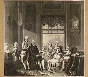 Portret van Jacob Swarth met zijn echtgenote Anna Maria Teekelenburg met zes kinderen in een Lodewijk XV-kamer