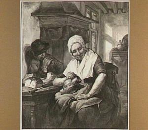 Interieur met oude vrouw met kruik en etende man